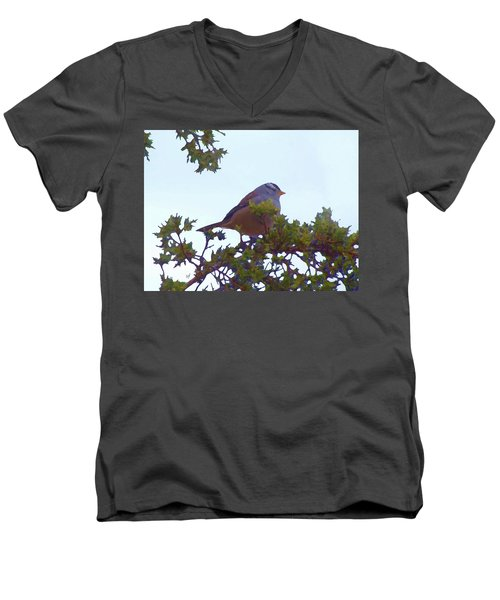 White Crowned Sparrow In Cedar Men's V-Neck T-Shirt