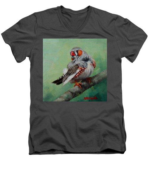 Zebra Finch Miniature Men's V-Neck T-Shirt by Margaret Stockdale
