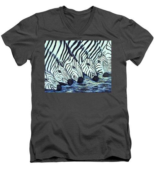 Zebra Line Men's V-Neck T-Shirt by Donna Dixon