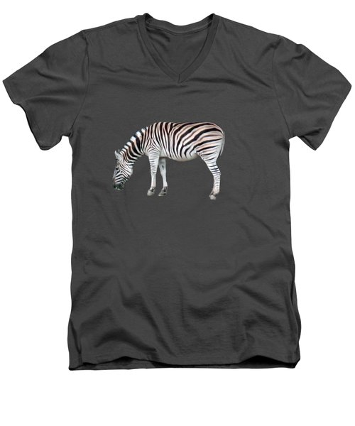 Zebra Men's V-Neck T-Shirt by Pamela Walton