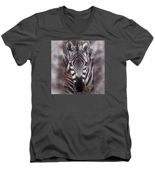 Zebra Splash Men's V-Neck T-Shirt