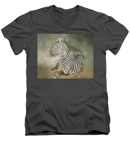 Zebra Watercolor Men's V-Neck T-Shirt