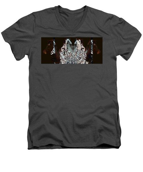 Zebraic Equation Men's V-Neck T-Shirt by Stephanie Grant