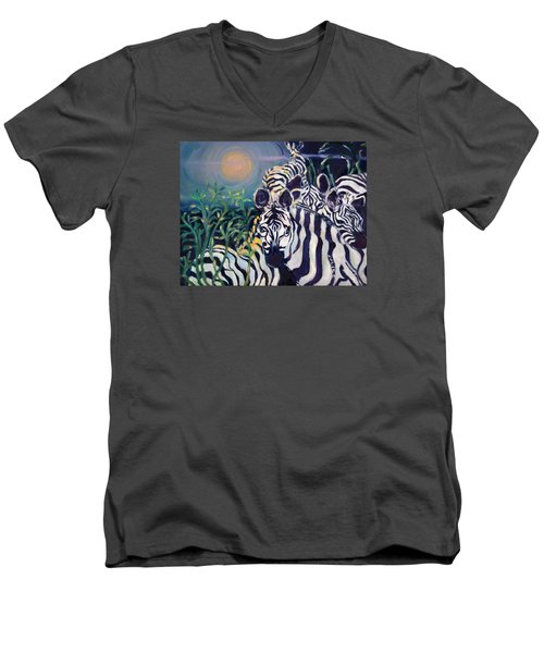 Zebras On The Savanna Men's V-Neck T-Shirt by Julie Todd-Cundiff
