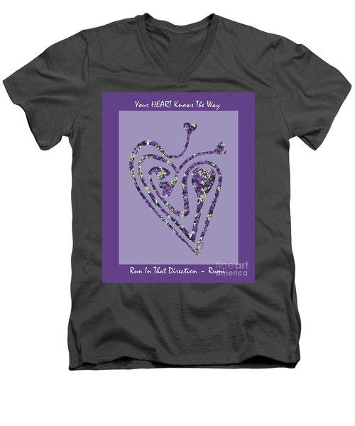 Zen Heart Labyrinth Floral Men's V-Neck T-Shirt