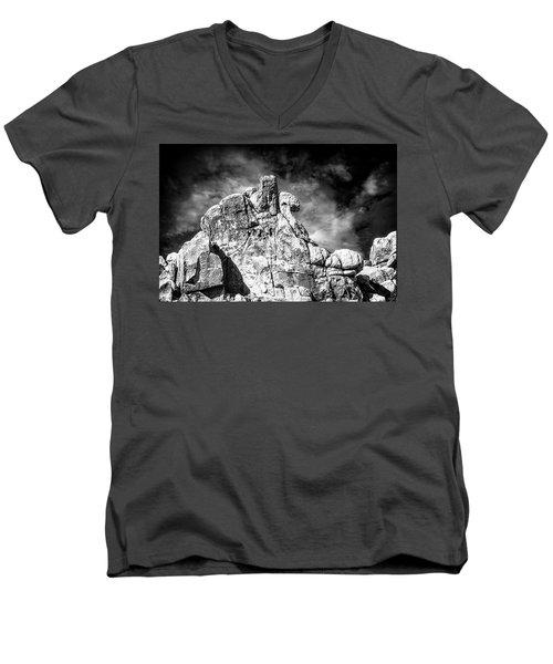 Zen Rocks II Bw Men's V-Neck T-Shirt
