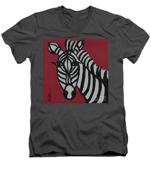 Zena Zebra Men's V-Neck T-Shirt