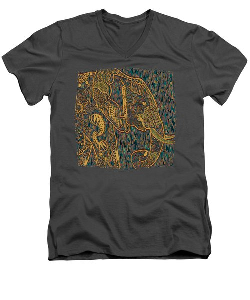 Zentangle Elephant-oil Gold Men's V-Neck T-Shirt