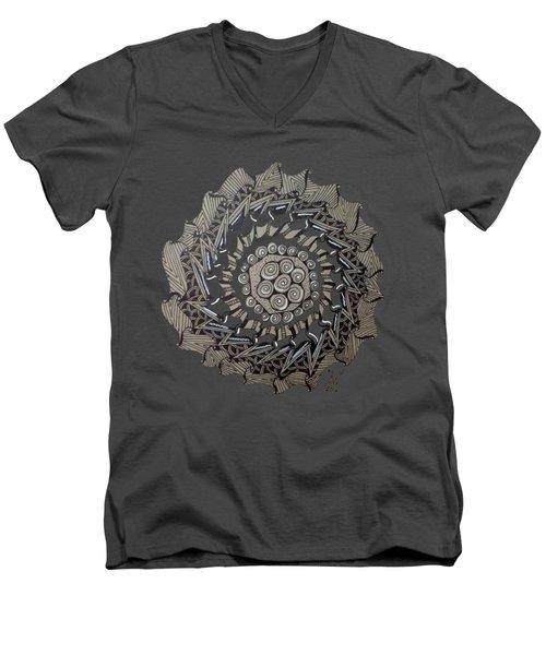 Zentangle Shield  Men's V-Neck T-Shirt by Joyce Wasser