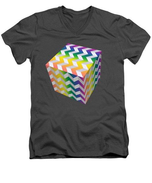 Zig Zag Cube Men's V-Neck T-Shirt