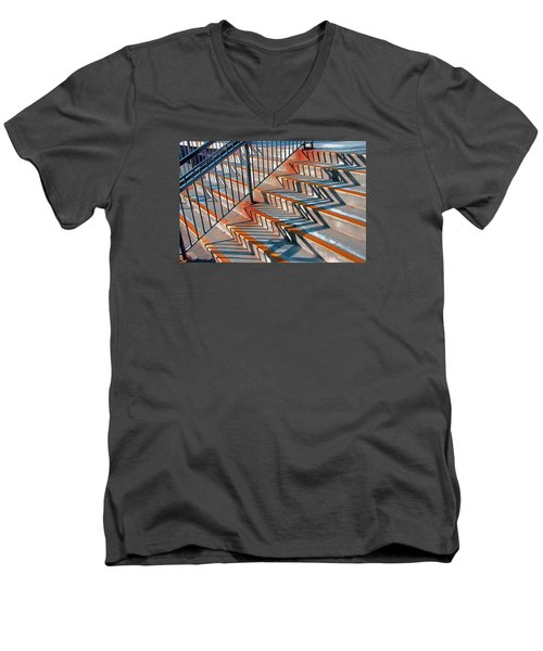 Men's V-Neck T-Shirt featuring the photograph Zig Zag Shadows On Train Station Steps by Gary Slawsky