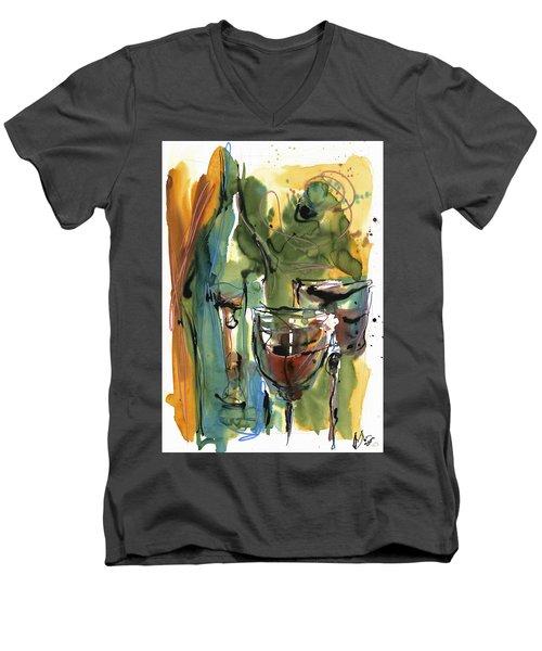 Men's V-Neck T-Shirt featuring the painting Zin-findel by Robert Joyner