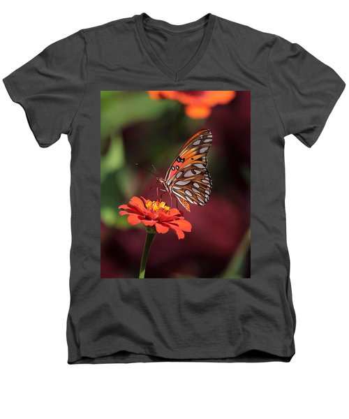 Zinnia With Butterfly 2668 Men's V-Neck T-Shirt