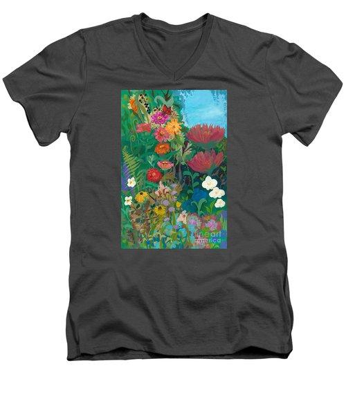 Zinnias Garden Men's V-Neck T-Shirt by Robin Maria Pedrero