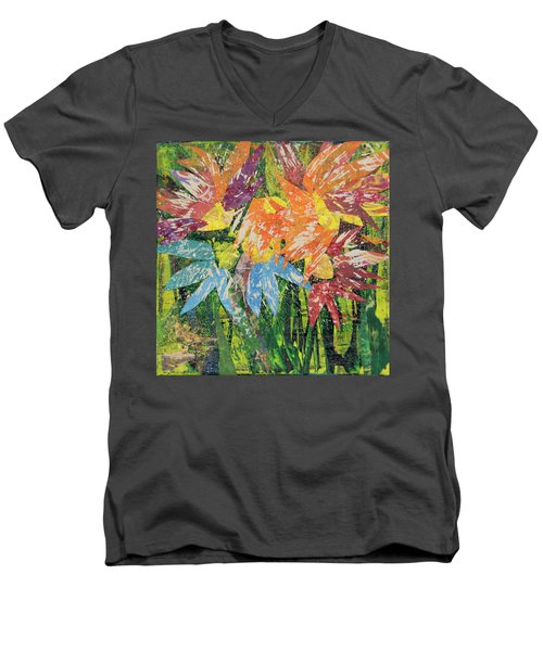 Zinnias Gone Mad Men's V-Neck T-Shirt