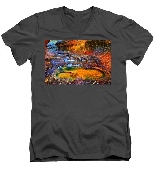 Zion Subway Falls Men's V-Neck T-Shirt by Greg Norrell