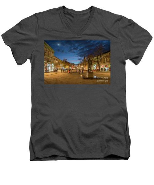 Zmaj Jovina Street In Moonlight Men's V-Neck T-Shirt by Jivko Nakev