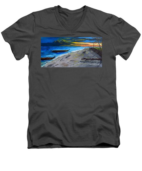 Men's V-Neck T-Shirt featuring the painting Zombie Island by Melvin Turner