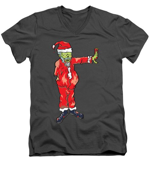 Men's V-Neck T-Shirt featuring the drawing Zombie Santa Claus Illustration by Jorgo Photography - Wall Art Gallery