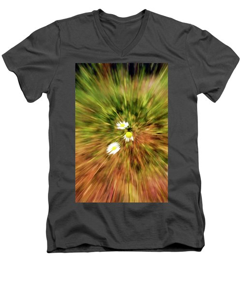 Men's V-Neck T-Shirt featuring the digital art Zooming In Or Zooming Out by James Steele