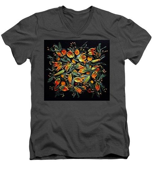 Zucchini Flower Patterns Men's V-Neck T-Shirt
