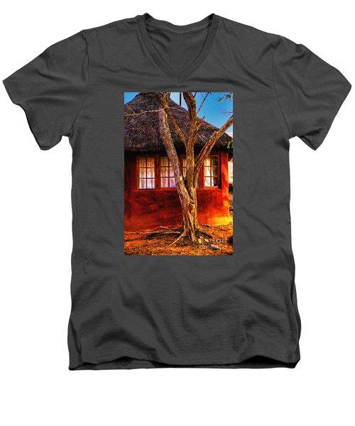 Men's V-Neck T-Shirt featuring the photograph Zulu Hut by Rick Bragan