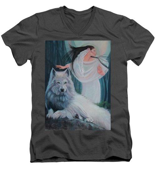 Zuni Maiden With Her White Wolf Men's V-Neck T-Shirt
