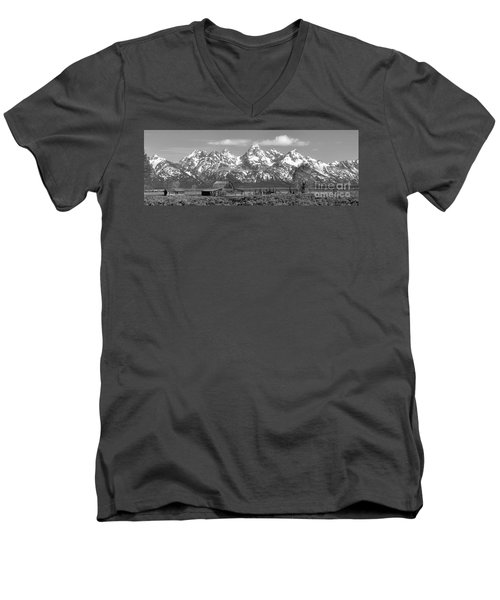 Mormon Row Moulton Barn Black And White Panorama Men's V-Neck T-Shirt by Adam Jewell