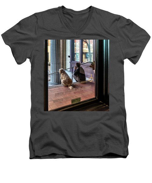 018 - Girl And Dog Men's V-Neck T-Shirt