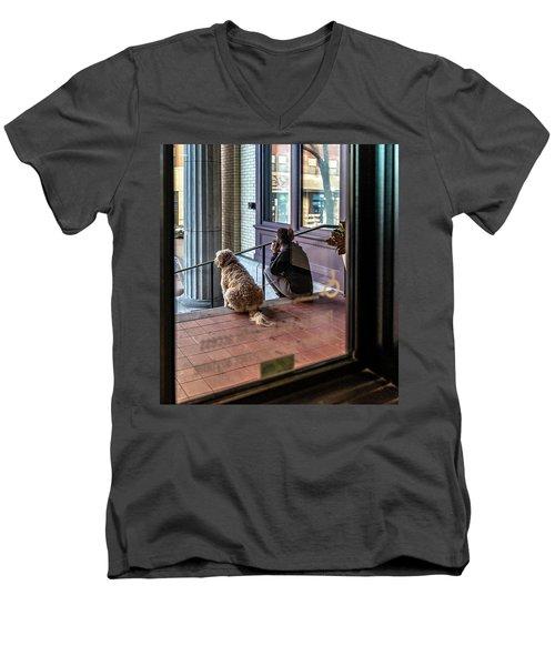 018 - Girl And Dog Men's V-Neck T-Shirt
