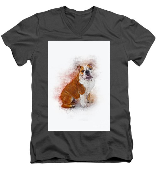 Bulldog Men's V-Neck T-Shirt