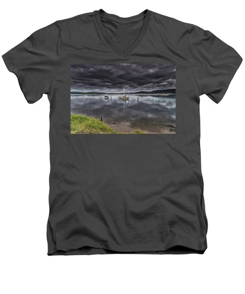 Early Morning Clouds And Reflections On The Bay Men's V-Neck T-Shirt