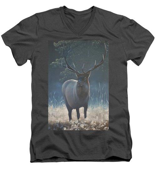 First Light - Bull Elk Men's V-Neck T-Shirt