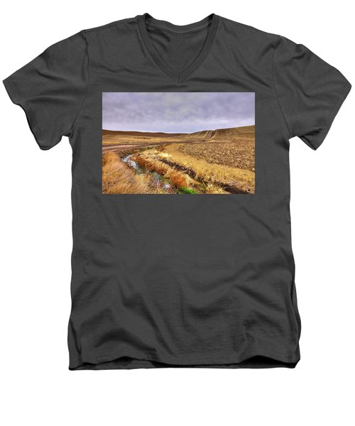 Men's V-Neck T-Shirt featuring the photograph Plowed Under by David Patterson