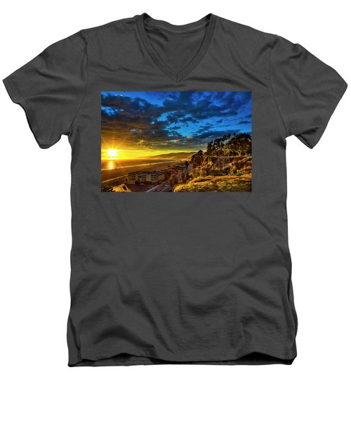 Santa Monica Bay Sunset - 10.1.18 # 1 Men's V-Neck T-Shirt