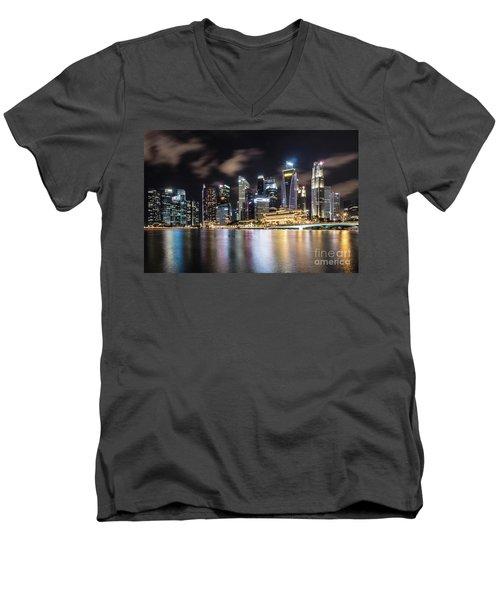Singapore By Night Men's V-Neck T-Shirt
