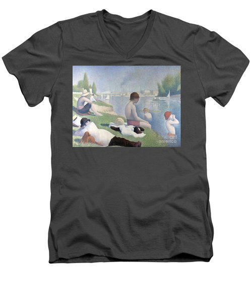 Bathers At Asnieres Men's V-Neck T-Shirt