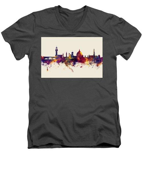 Florence Italy Skyline Men's V-Neck T-Shirt