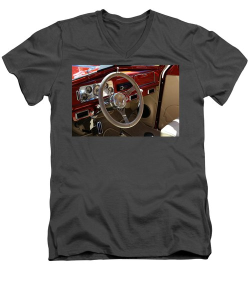 Men's V-Neck T-Shirt featuring the photograph 1938 Pontiac Silver Streak Interior by Debi Dalio
