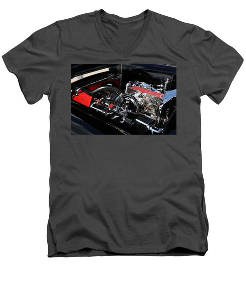 Men's V-Neck T-Shirt featuring the photograph 1957 Chevrolet Corvette Engine by Debi Dalio