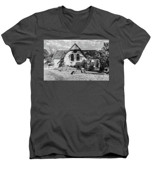 19th Century Sandstone Church In Black And White Men's V-Neck T-Shirt