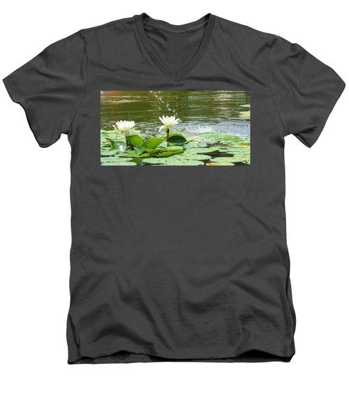 2 White Water Lilies Men's V-Neck T-Shirt