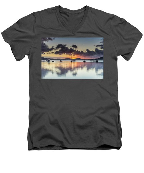 Overcast Morning On The Bay With Boats Men's V-Neck T-Shirt