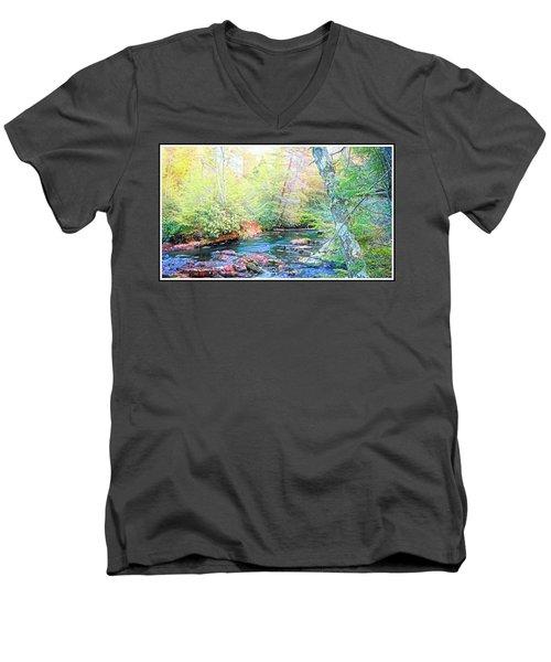 Pocono Mountain Stream, Pennsylvania Men's V-Neck T-Shirt
