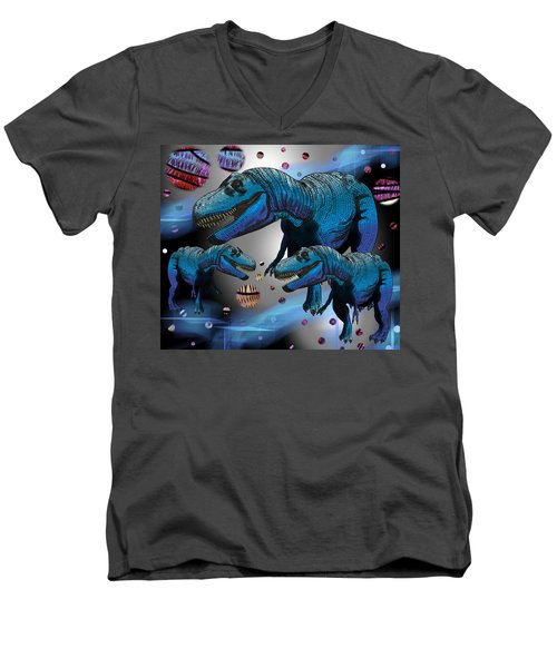 Tyrannosaurus Three Moons Men's V-Neck T-Shirt