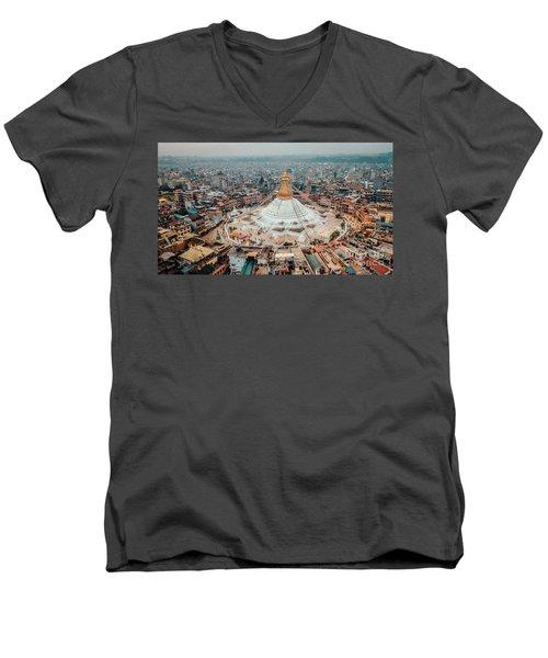 Stupa Temple Bodhnath Kathmandu, Nepal From Air October 12 2018 Men's V-Neck T-Shirt