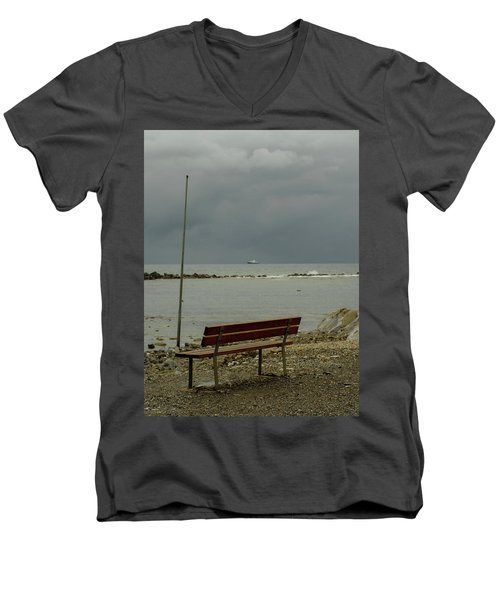 A Bench On Which To Expect, By The Sea Men's V-Neck T-Shirt
