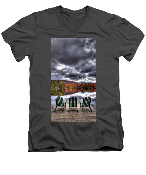 Men's V-Neck T-Shirt featuring the photograph A Fall Day On West Lake by David Patterson