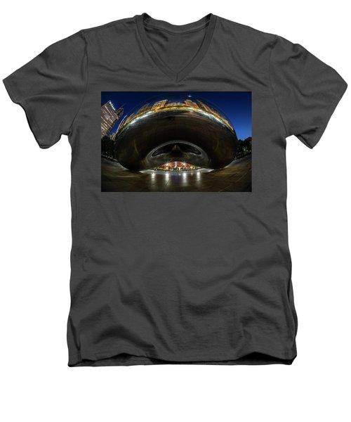 A Fisheye Perspective Of Chicago's Bean Men's V-Neck T-Shirt