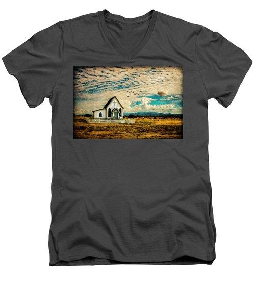 A Lone Prairie Church Men's V-Neck T-Shirt